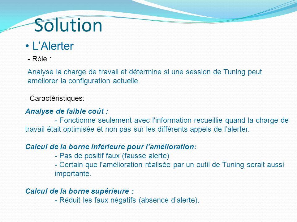 LAlerter Solution - Rôle : Analyse la charge de travail et détermine si une session de Tuning peut améliorer la configuration actuelle.