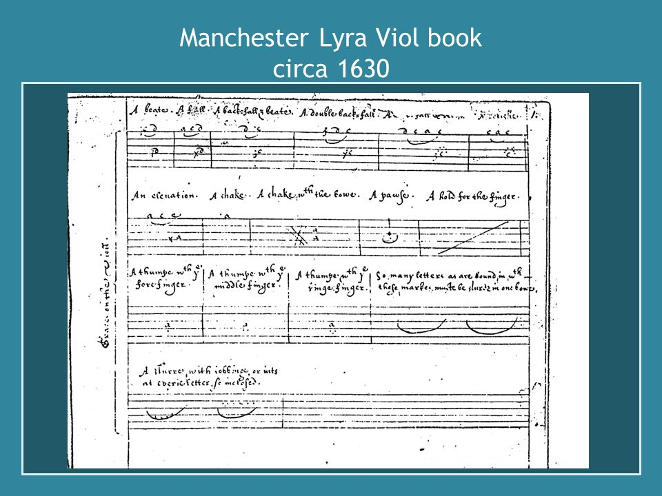 Manchester Lyra Viol book circa 1630 ornamentation :