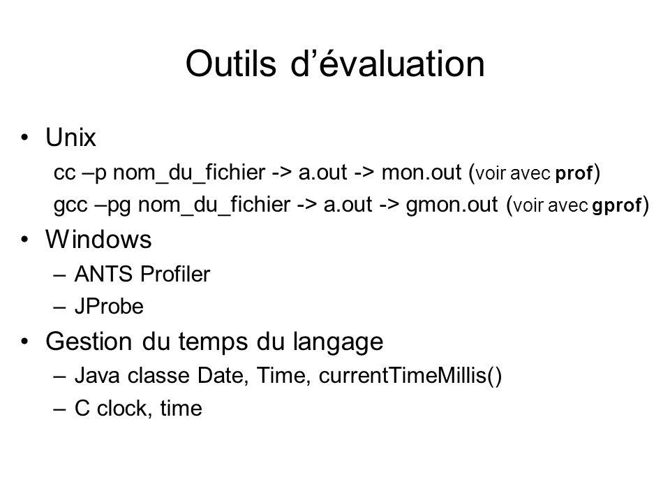 Outils dévaluation Unix cc –p nom_du_fichier -> a.out -> mon.out ( voir avec prof ) gcc –pg nom_du_fichier -> a.out -> gmon.out ( voir avec gprof ) Windows –ANTS Profiler –JProbe Gestion du temps du langage –Java classe Date, Time, currentTimeMillis() –C clock, time