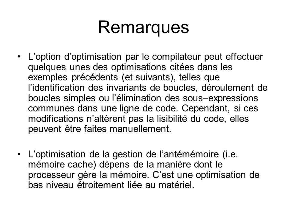 Remarques Loption doptimisation par le compilateur peut effectuer quelques unes des optimisations citées dans les exemples précédents (et suivants), t