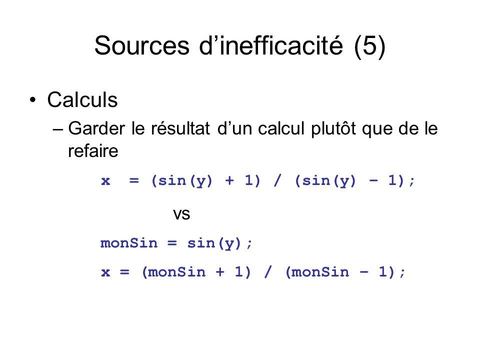 Sources dinefficacité (5) Calculs –Garder le résultat dun calcul plutôt que de le refaire x = (sin(y) + 1) / (sin(y) – 1); vs monSin = sin(y); x = (monSin + 1) / (monSin – 1);