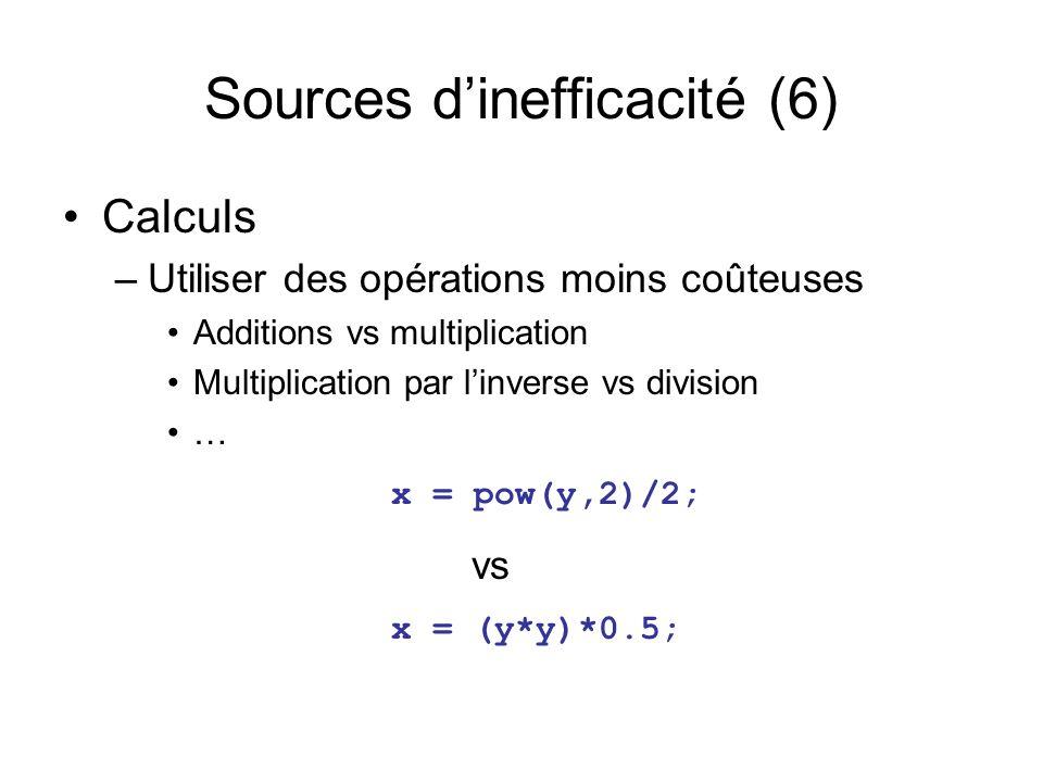 Sources dinefficacité (6) Calculs –Utiliser des opérations moins coûteuses Additions vs multiplication Multiplication par linverse vs division … x = pow(y,2)/2; vs x = (y*y)*0.5;