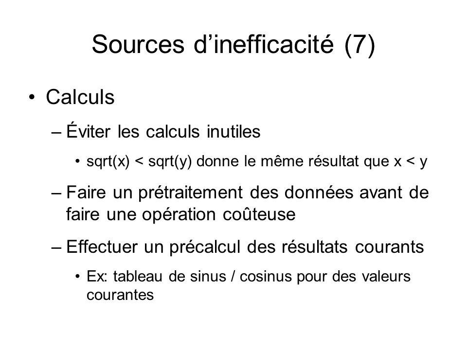 Sources dinefficacité (7) Calculs –Éviter les calculs inutiles sqrt(x) < sqrt(y) donne le même résultat que x < y –Faire un prétraitement des données avant de faire une opération coûteuse –Effectuer un précalcul des résultats courants Ex: tableau de sinus / cosinus pour des valeurs courantes