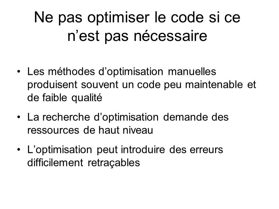 Ne pas optimiser le code si ce nest pas nécessaire Les méthodes doptimisation manuelles produisent souvent un code peu maintenable et de faible qualité La recherche doptimisation demande des ressources de haut niveau Loptimisation peut introduire des erreurs difficilement retraçables