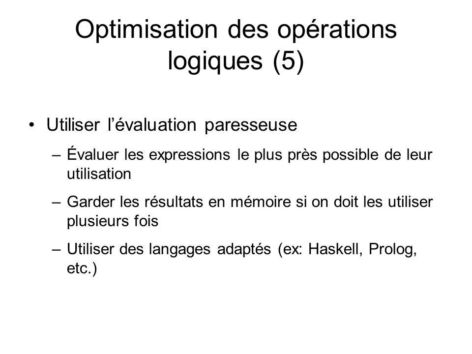 Optimisation des opérations logiques (5) Utiliser lévaluation paresseuse –Évaluer les expressions le plus près possible de leur utilisation –Garder les résultats en mémoire si on doit les utiliser plusieurs fois –Utiliser des langages adaptés (ex: Haskell, Prolog, etc.)
