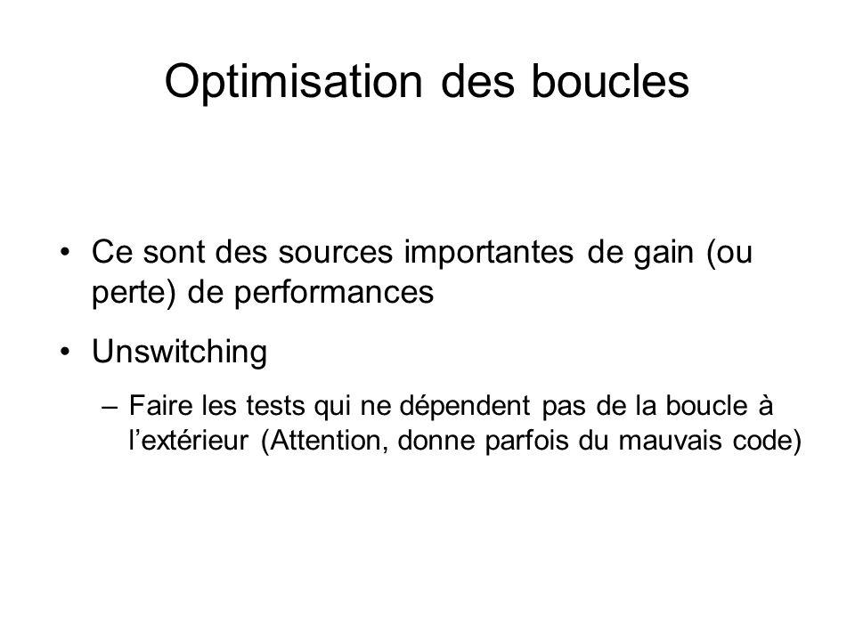Optimisation des boucles Ce sont des sources importantes de gain (ou perte) de performances Unswitching –Faire les tests qui ne dépendent pas de la boucle à lextérieur (Attention, donne parfois du mauvais code)