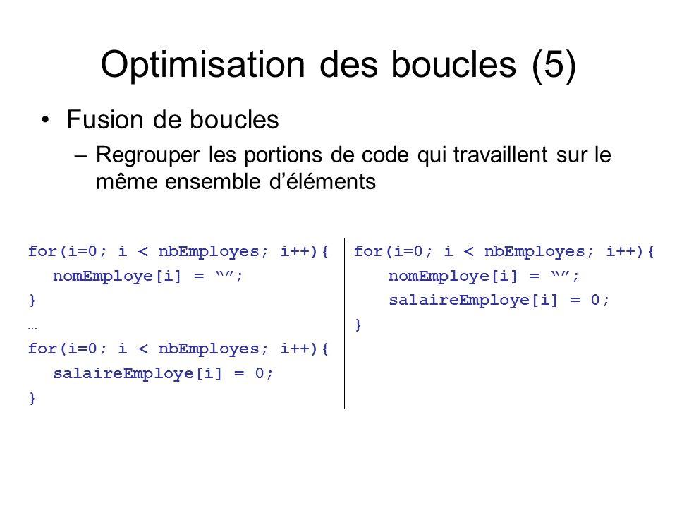 Optimisation des boucles (5) for(i=0; i < nbEmployes; i++){ nomEmploye[i] = ; } … for(i=0; i < nbEmployes; i++){ salaireEmploye[i] = 0; } Fusion de boucles –Regrouper les portions de code qui travaillent sur le même ensemble déléments for(i=0; i < nbEmployes; i++){ nomEmploye[i] = ; salaireEmploye[i] = 0; }