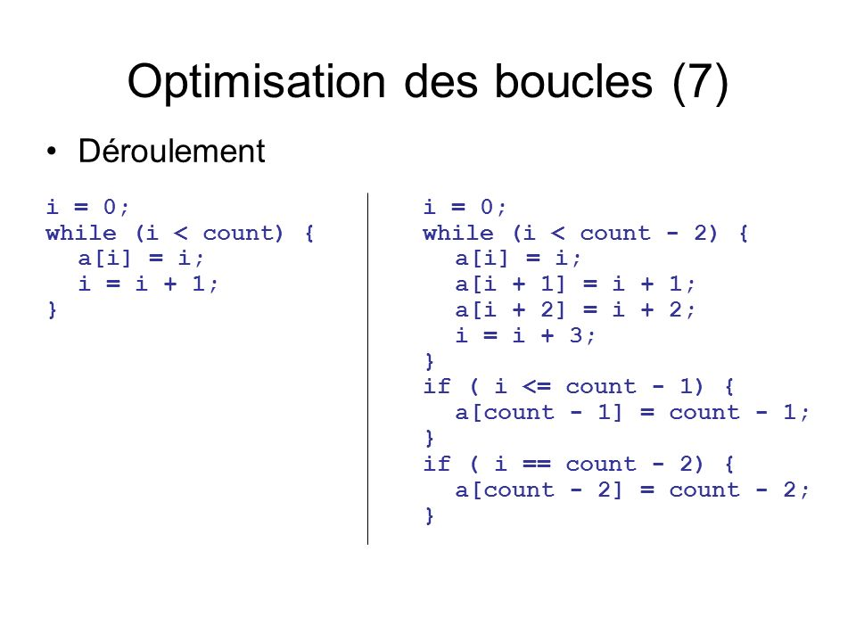 Optimisation des boucles (7) i = 0; while (i < count) { a[i] = i; i = i + 1; } Déroulement i = 0; while (i < count - 2) { a[i] = i; a[i + 1] = i + 1; a[i + 2] = i + 2; i = i + 3; } if ( i <= count - 1) { a[count - 1] = count - 1; } if ( i == count - 2) { a[count - 2] = count - 2; }