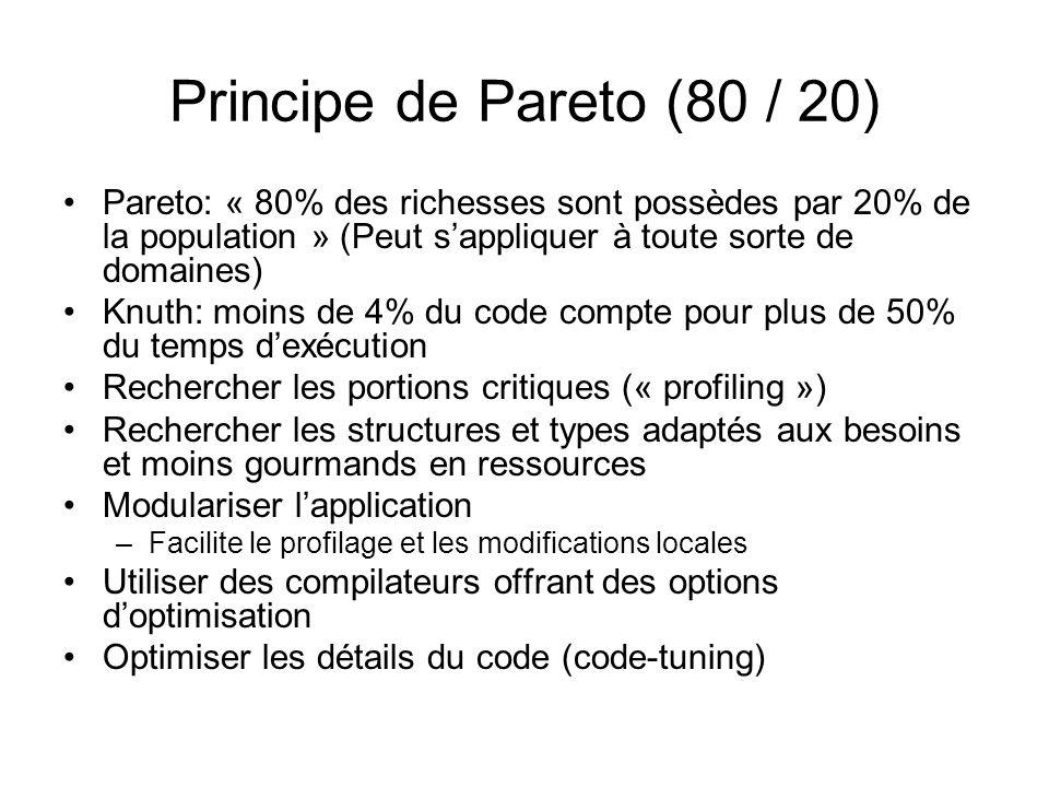 Principe de Pareto (80 / 20) Pareto: « 80% des richesses sont possèdes par 20% de la population » (Peut sappliquer à toute sorte de domaines) Knuth: m