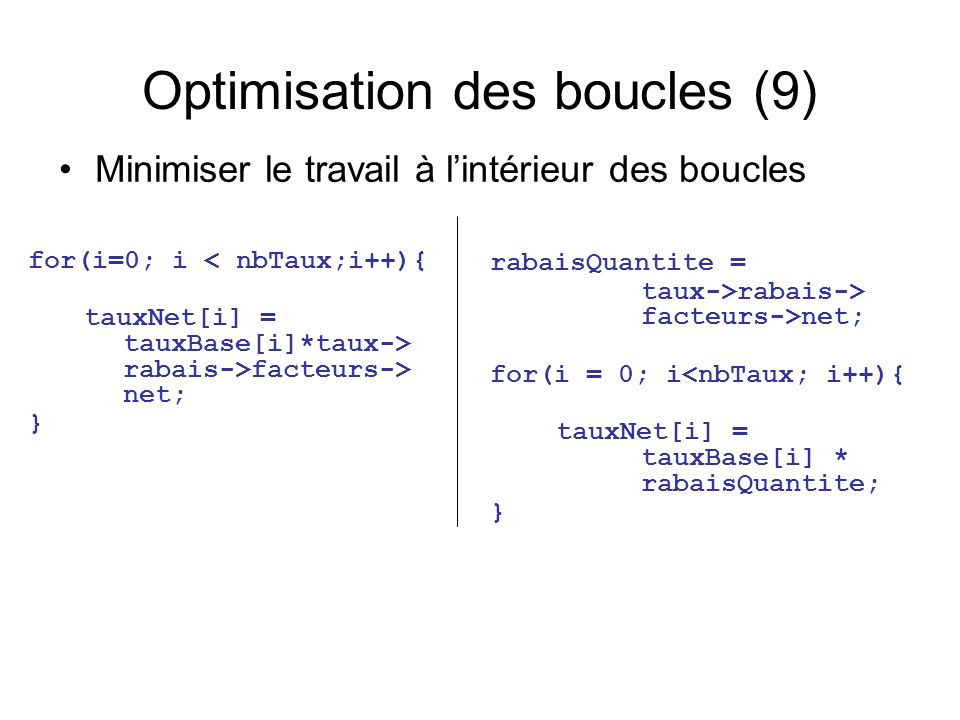 Optimisation des boucles (9) rabaisQuantite = taux->rabais-> facteurs->net; for(i = 0; i<nbTaux; i++){ tauxNet[i] = tauxBase[i] * rabaisQuantite; } Minimiser le travail à lintérieur des boucles for(i=0; i < nbTaux;i++){ tauxNet[i] = tauxBase[i]*taux-> rabais->facteurs-> net; }