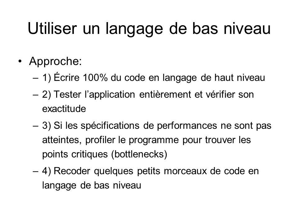 Utiliser un langage de bas niveau Approche: –1) Écrire 100% du code en langage de haut niveau –2) Tester lapplication entièrement et vérifier son exac