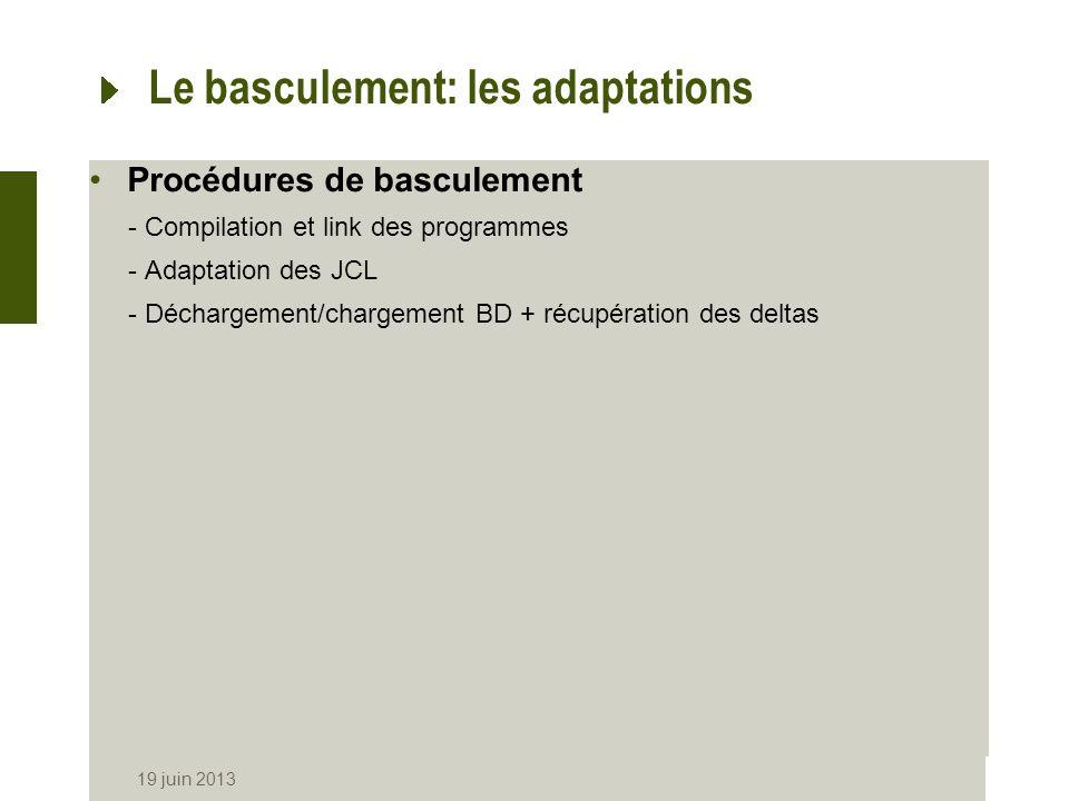 19 juin 2013 Le basculement: les adaptations Procédures de basculement -Compilation et link des programmes -Adaptation des JCL -Déchargement/chargemen