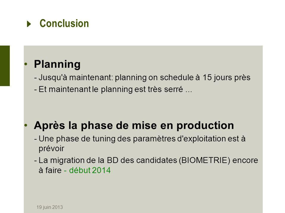 19 juin 2013 Conclusion Planning -Jusqu'à maintenant: planning on schedule à 15 jours près -Et maintenant le planning est très serré... Après la phase