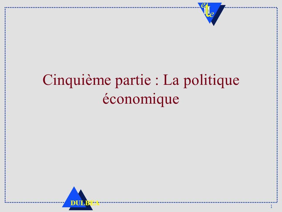 82 DULBEA Courbe de Laffer t0 : Tx imposition = 0 ; Recettes fiscales = 0 B : 100% imposition, Yd = 0, Recettes fiscales = 0 De 0 à A : dRF/dt > 0.