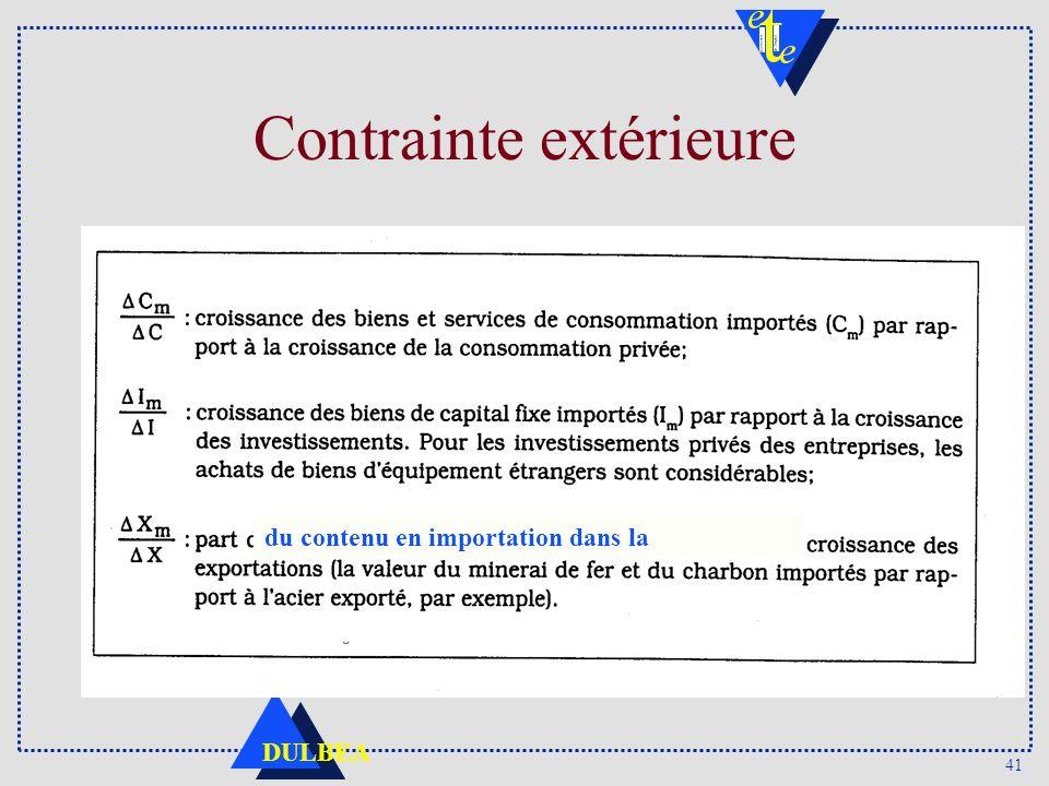 41 DULBEA Contrainte extérieure du contenu en importation dans la