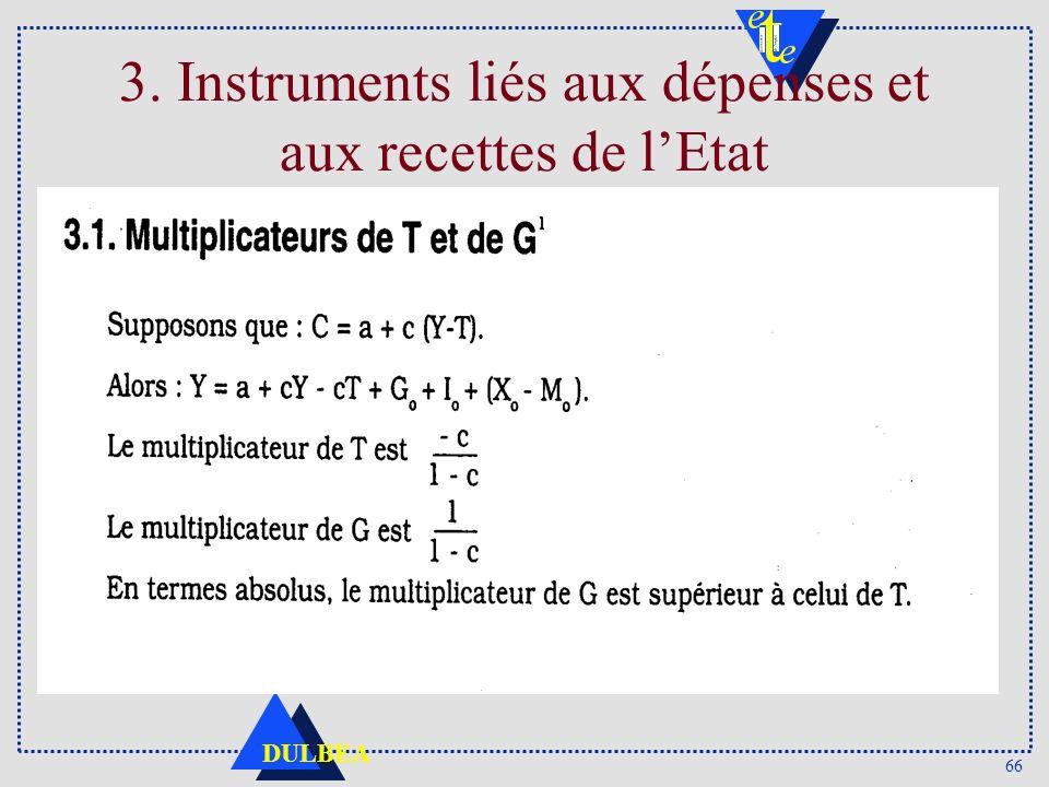 66 DULBEA 3. Instruments liés aux dépenses et aux recettes de lEtat