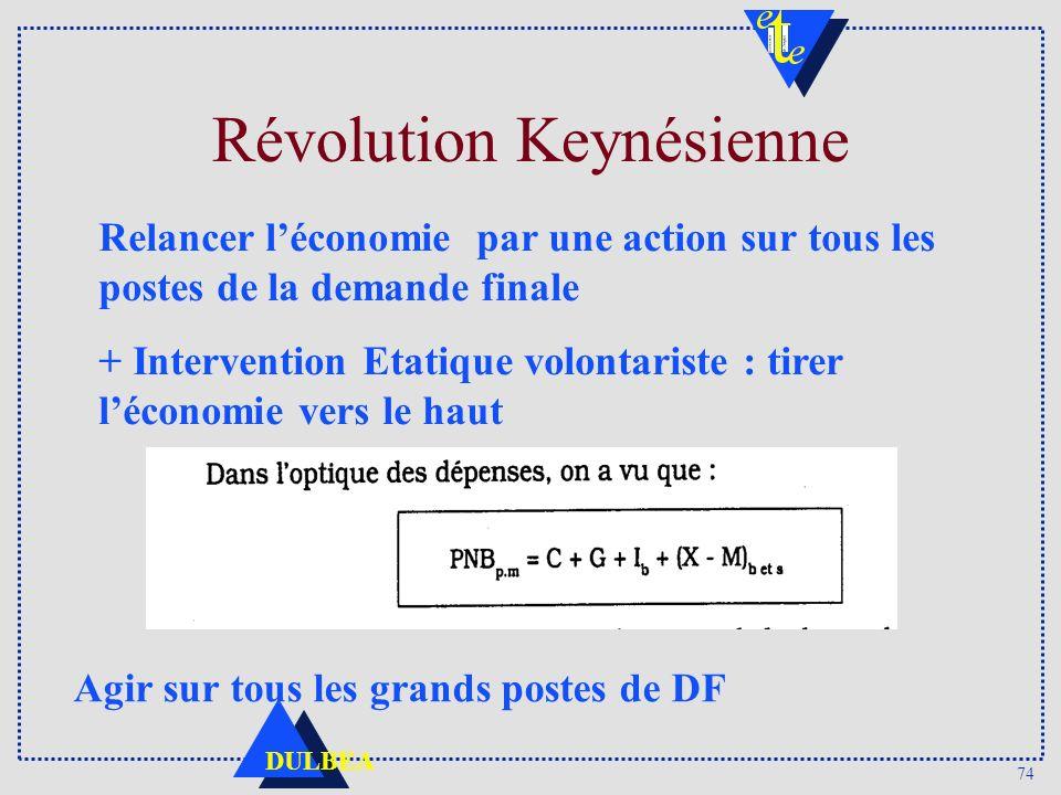 74 DULBEA Révolution Keynésienne Relancer léconomie par une action sur tous les postes de la demande finale + Intervention Etatique volontariste : tirer léconomie vers le haut Agir sur tous les grands postes de DF
