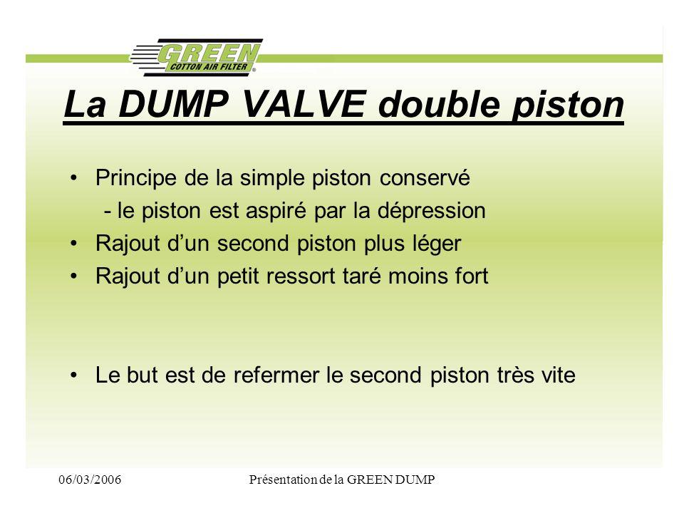 06/03/2006Présentation de la GREEN DUMP La DUMP VALVE double piston Principe de la simple piston conservé - le piston est aspiré par la dépression Raj