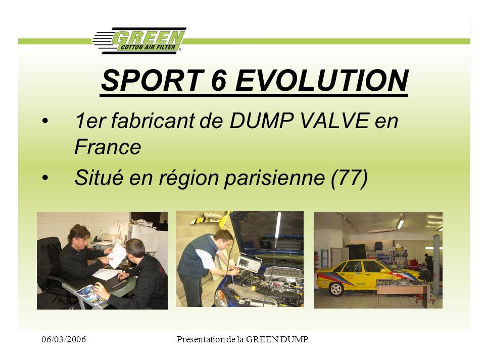 06/03/2006Présentation de la GREEN DUMP SPORT 6 EVOLUTION 1er fabricant de DUMP VALVE en France Situé en région parisienne (77)