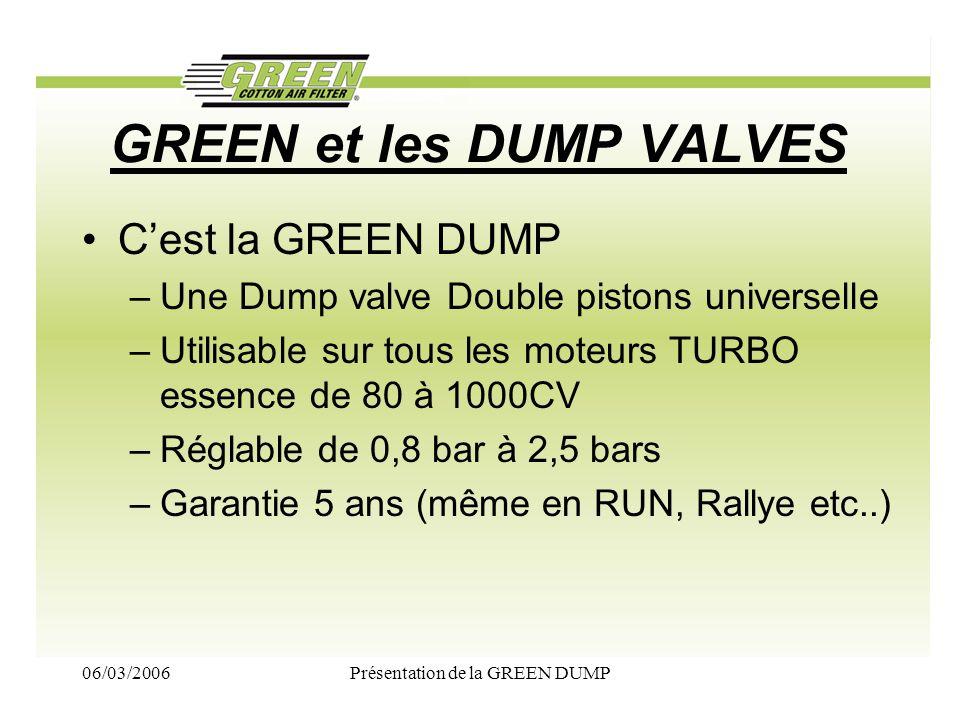 06/03/2006Présentation de la GREEN DUMP GREEN et les DUMP VALVES Cest la GREEN DUMP –Une Dump valve Double pistons universelle –Utilisable sur tous le