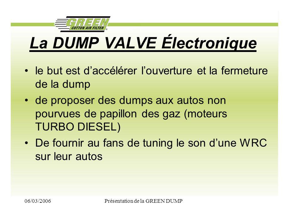 06/03/2006Présentation de la GREEN DUMP La DUMP VALVE Électronique le but est daccélérer louverture et la fermeture de la dump de proposer des dumps a
