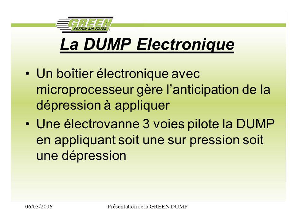 06/03/2006Présentation de la GREEN DUMP La DUMP Electronique Un boîtier électronique avec microprocesseur gère lanticipation de la dépression à appliq