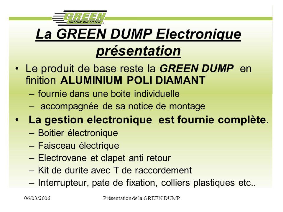 06/03/2006Présentation de la GREEN DUMP La GREEN DUMP Electronique présentation Le produit de base reste la GREEN DUMP en finition ALUMINIUM POLI DIAM