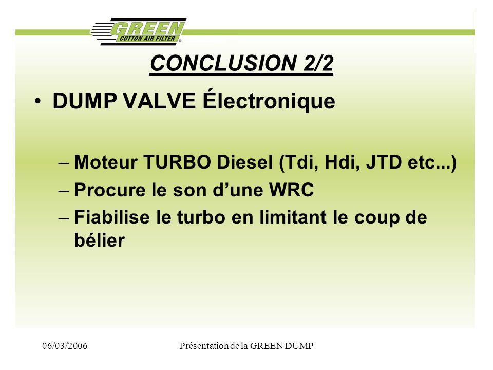 06/03/2006Présentation de la GREEN DUMP CONCLUSION 2/2 DUMP VALVE Électronique –Moteur TURBO Diesel (Tdi, Hdi, JTD etc...) –Procure le son dune WRC –F