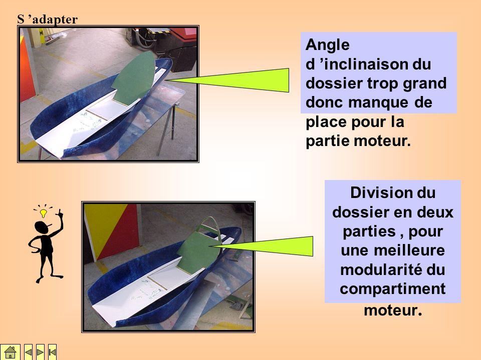 Découpe de la partie haute du siège pour en changer l orientation Trouver une solution technique
