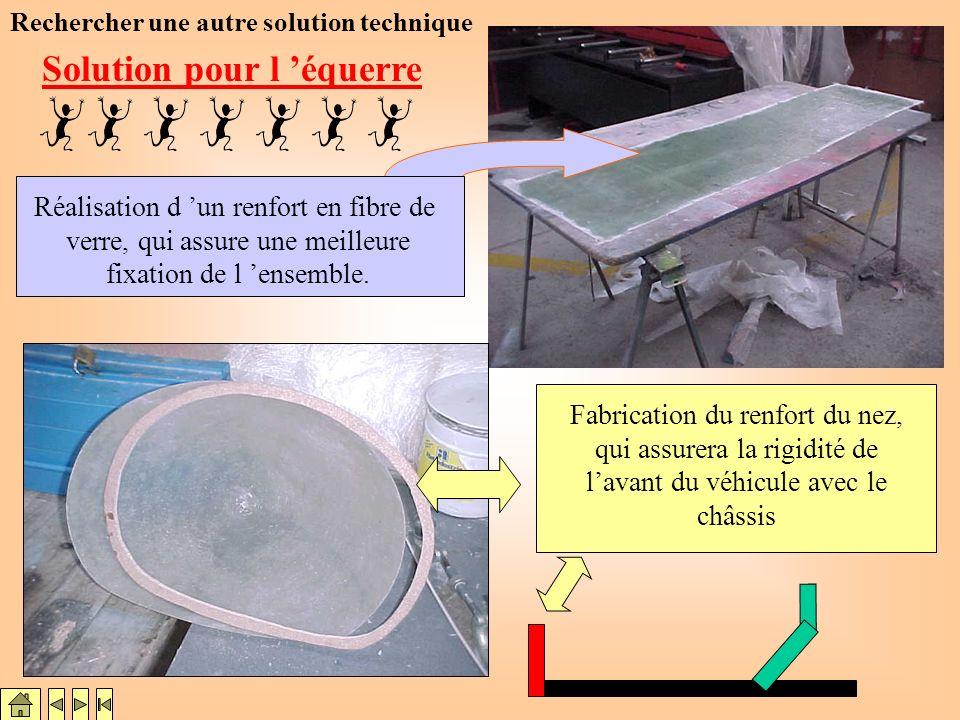 Renfort des passages de roues supérieur par stratifications Réalisation d une équerre permettant d assurer l étanchéité et la liaison avec la partie s