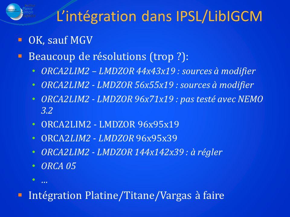 Lintégration dans IPSL/LibIGCM OK, sauf MGV Beaucoup de résolutions (trop ?): ORCA2LIM2 – LMDZOR 44x43x19 : sources à modifier ORCA2LIM2 - LMDZOR 56x5
