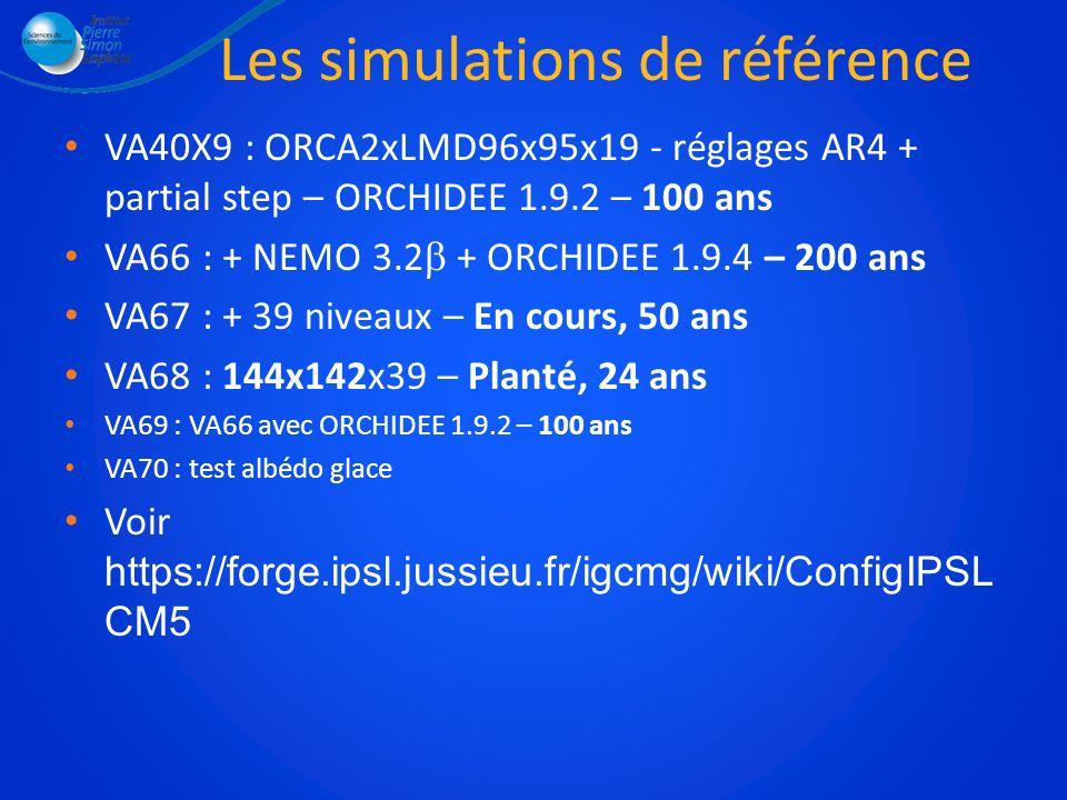 Les simulations de référence VA40X9 : ORCA2xLMD96x95x19 - réglages AR4 + partial step – ORCHIDEE 1.9.2 – 100 ans VA66 : + NEMO 3.2 + ORCHIDEE 1.9.4 –