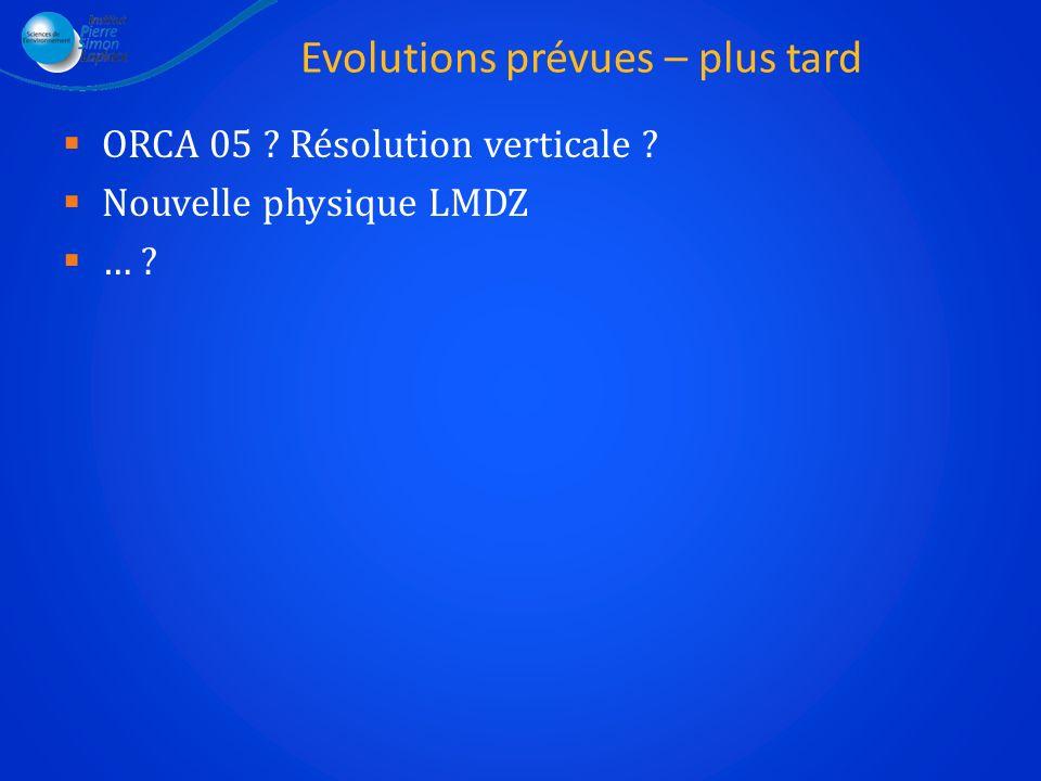 Evolutions prévues – plus tard ORCA 05 ? Résolution verticale ? Nouvelle physique LMDZ … ?