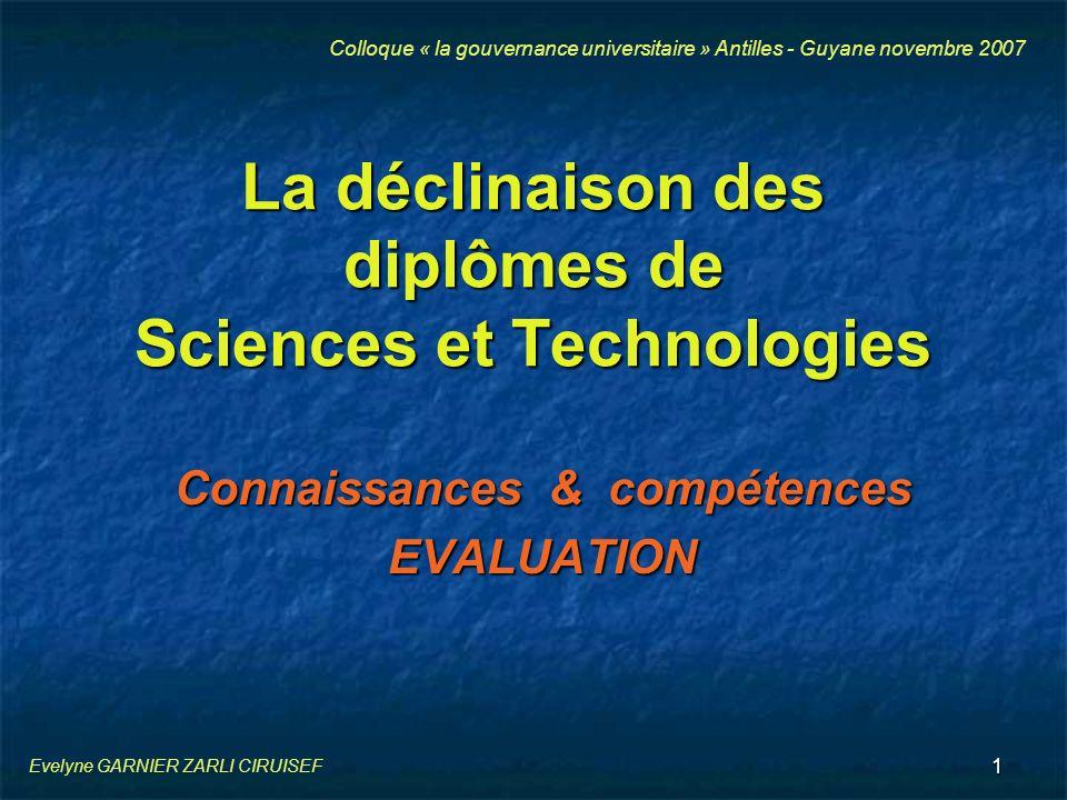 1 La déclinaison des diplômes de Sciences et Technologies Connaissances & compétences EVALUATION Colloque « la gouvernance universitaire » Antilles -