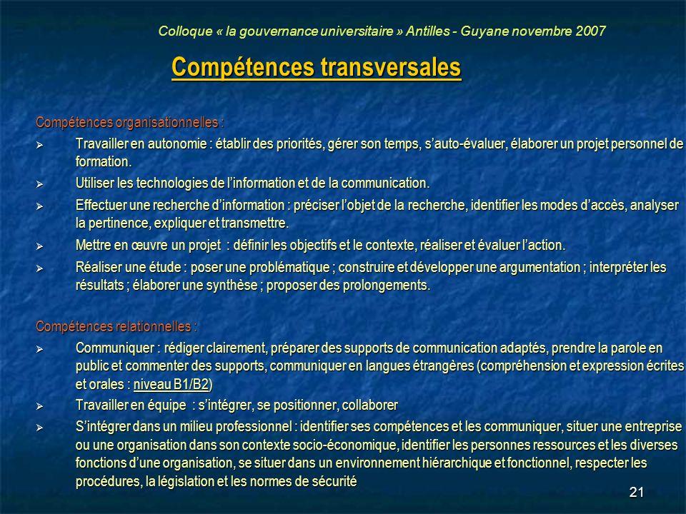 21 Compétences transversales Compétences organisationnelles : Travailler en autonomie : établir des priorités, gérer son temps, sauto-évaluer, élabore