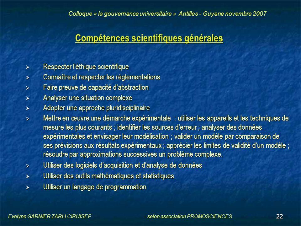 22 Compétences scientifiques générales Respecter léthique scientifique Respecter léthique scientifique Connaître et respecter les réglementations Conn
