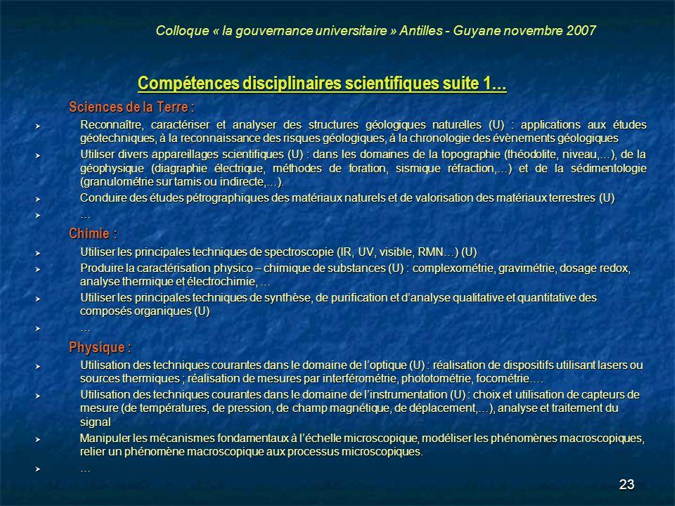 23 Compétences disciplinaires scientifiques suite 1… Sciences de la Terre : Reconnaître, caractériser et analyser des structures géologiques naturelle