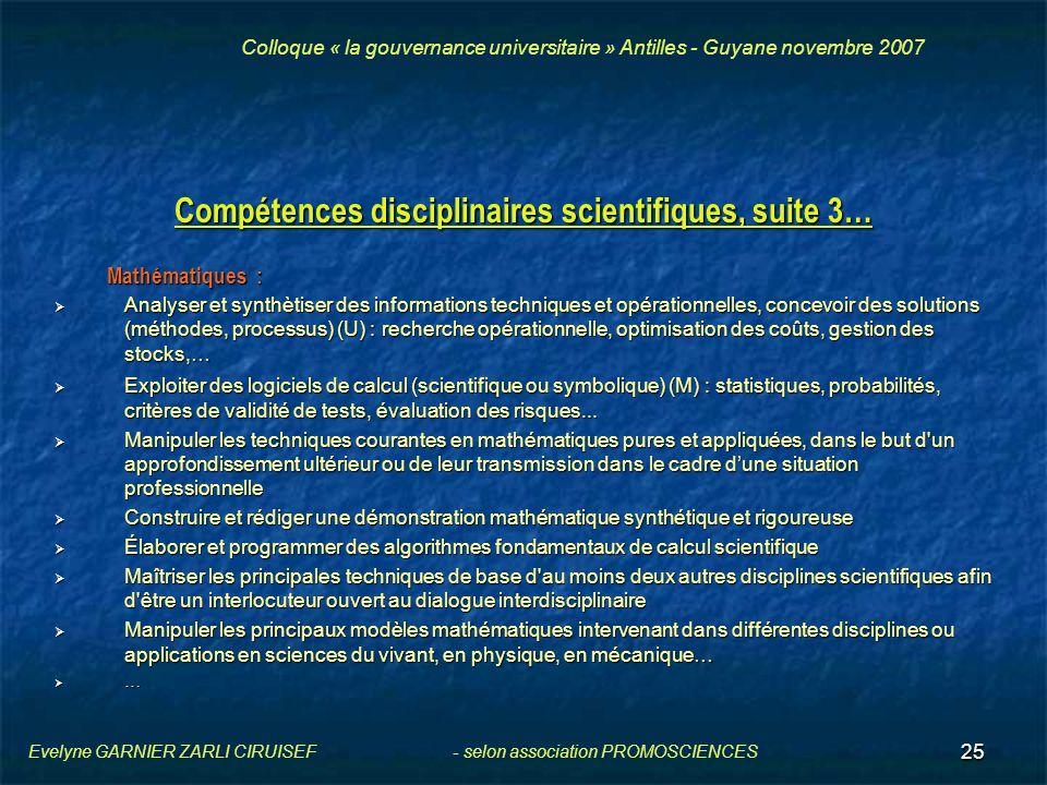 25 Compétences disciplinaires scientifiques, suite 3… Mathématiques : Analyser et synthètiser des informations techniques et opérationnelles, concevoi