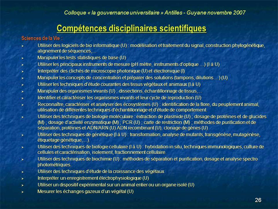 26 Compétences disciplinaires scientifiques Sciences de la Vie : Utiliser des logiciels de bio informatique (U) : modélisation et traitement du signal