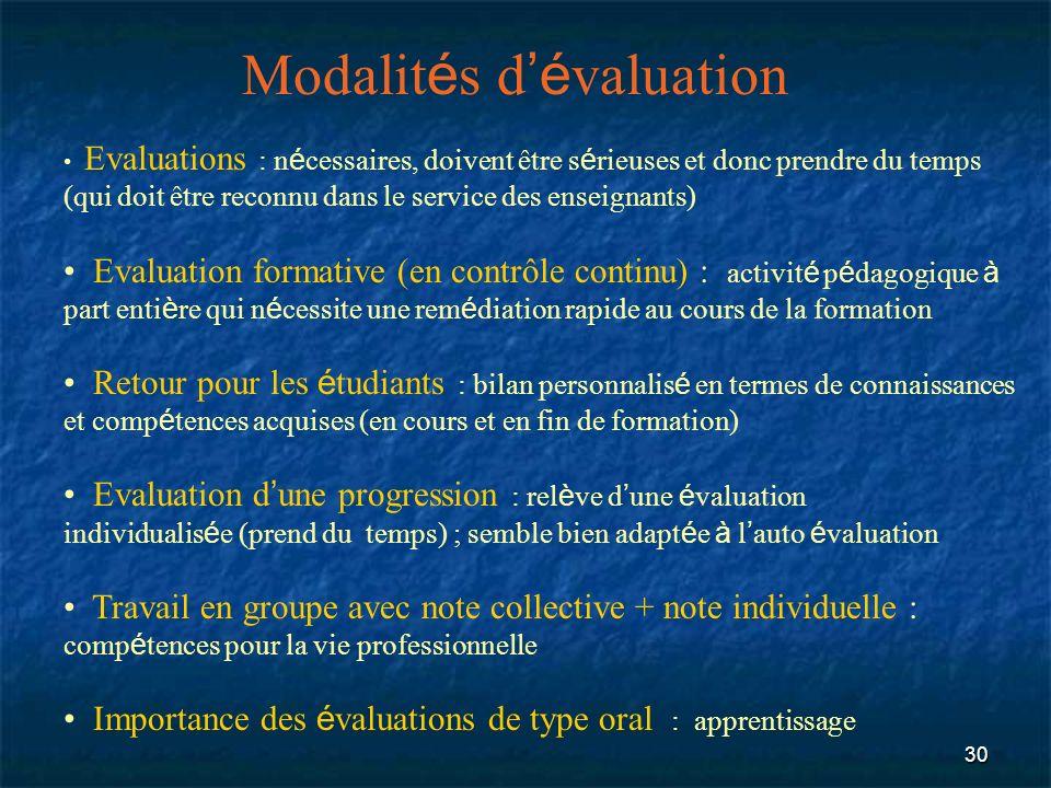 30 Modalit é s d é valuation Evaluations : n é cessaires, doivent être s é rieuses et donc prendre du temps (qui doit être reconnu dans le service des