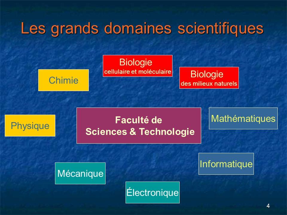 4 Les grands domaines scientifiques Biologie cellulaire et moléculaire Faculté de Sciences & Technologie Physique Électronique Mécanique Mathématiques