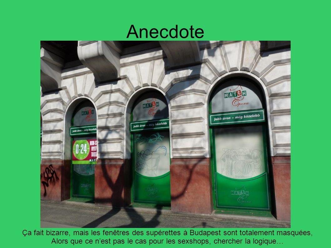 Anecdote Ça fait bizarre, mais les fenêtres des supérettes à Budapest sont totalement masquées, Alors que ce nest pas le cas pour les sexshops, cherch