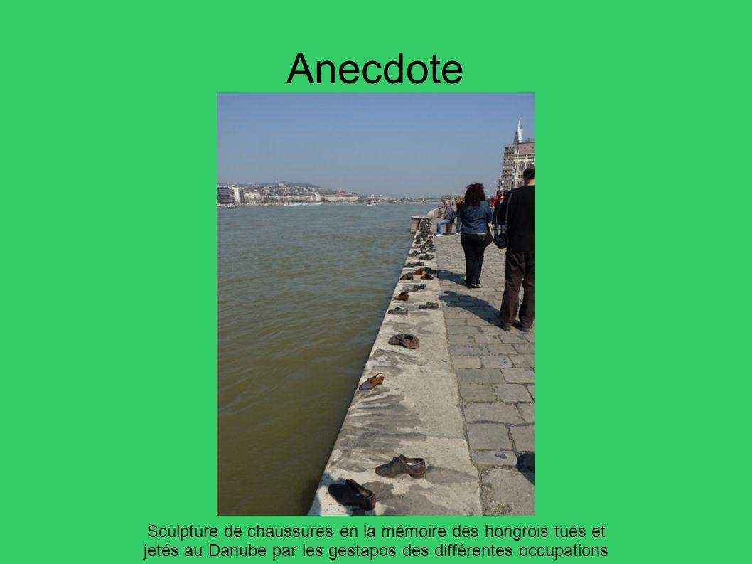 Anecdote Sculpture de chaussures en la mémoire des hongrois tués et jetés au Danube par les gestapos des différentes occupations