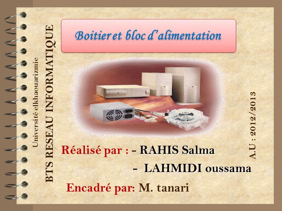 RAHIS Salma Réalisé par : - RAHIS Salma - LAHMIDI oussama - LAHMIDI oussama Université elkhaouarizmie BTS RESEAU INFORMATIQUE Encadré par: M. tanari A