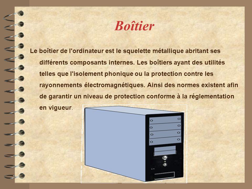 Boîtier Le boîtier de l'ordinateur est le squelette métallique abritant ses différents composants internes. Les boîtiers ayant des utilités telles que