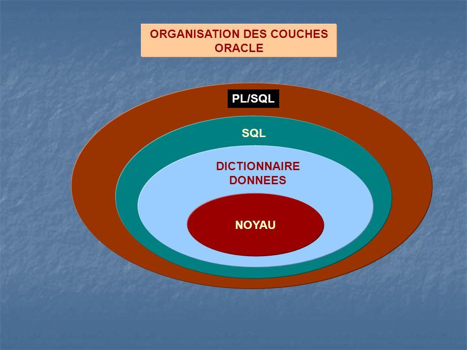ORGANISATION DES COUCHES ORACLE NOYAU DICTIONNAIRE DONNEES SQL PL/SQL
