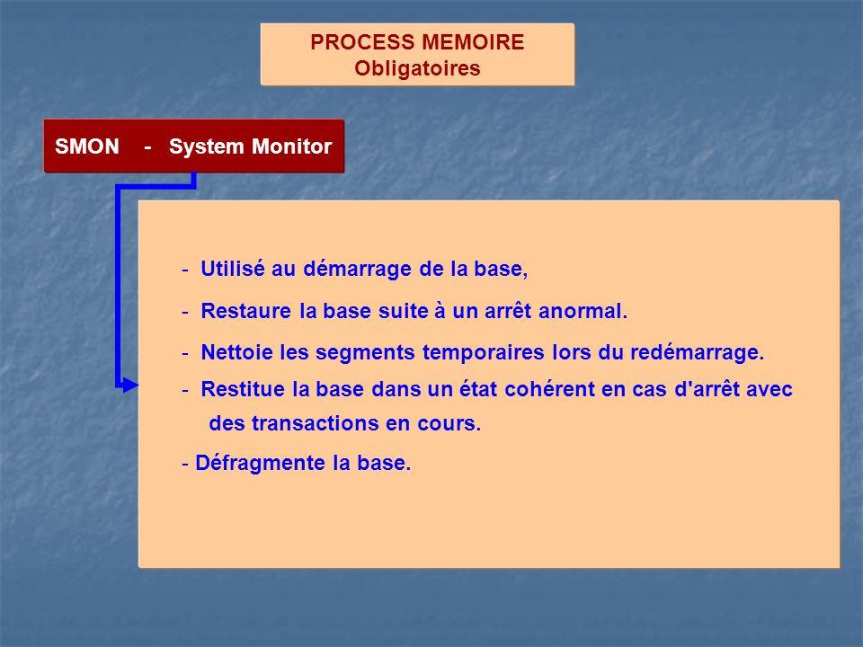 PROCESS MEMOIRE Obligatoires SMON - System Monitor - Utilisé au démarrage de la base, - Restaure la base suite à un arrêt anormal. - Nettoie les segme