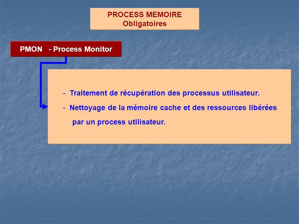 PROCESS MEMOIRE Obligatoires PMON - Process Monitor - Traitement de récupération des processus utilisateur. - Nettoyage de la mémoire cache et des res