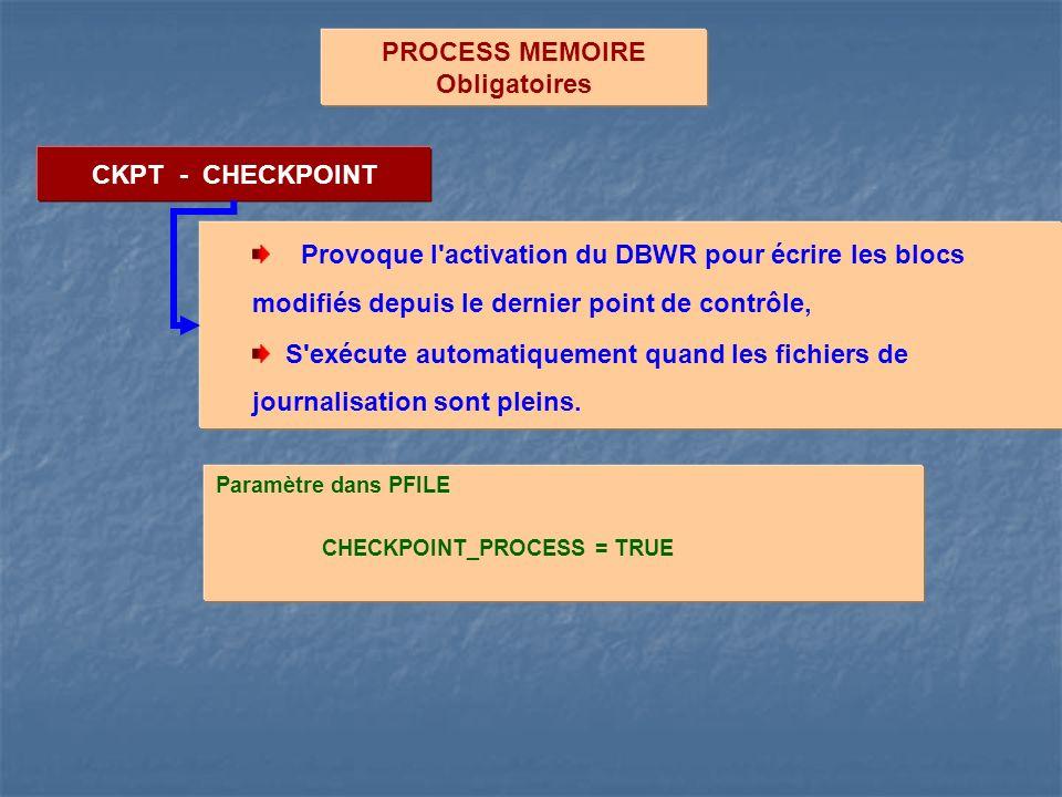 PROCESS MEMOIRE Obligatoires CKPT - CHECKPOINT Provoque l'activation du DBWR pour écrire les blocs modifiés depuis le dernier point de contrôle, S'exé
