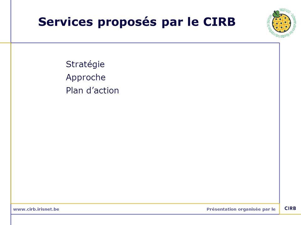 www.cirb.irisnet.bePrésentation organisée par le Services proposés par le CIRB Stratégie Approche Plan daction